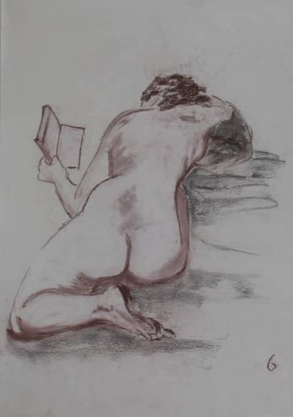 Weibliche Akt mit Buch