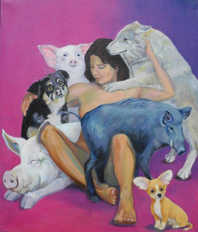 Innere Schweine & Hunde – Mischtechnik auf Leinwand 120 x 100 cm 2016