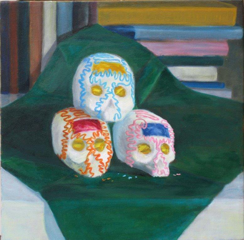 Totenschädelchen-aus-Zucker-Tempera-Öl-auf-Leinwand-40x40-cm-2005